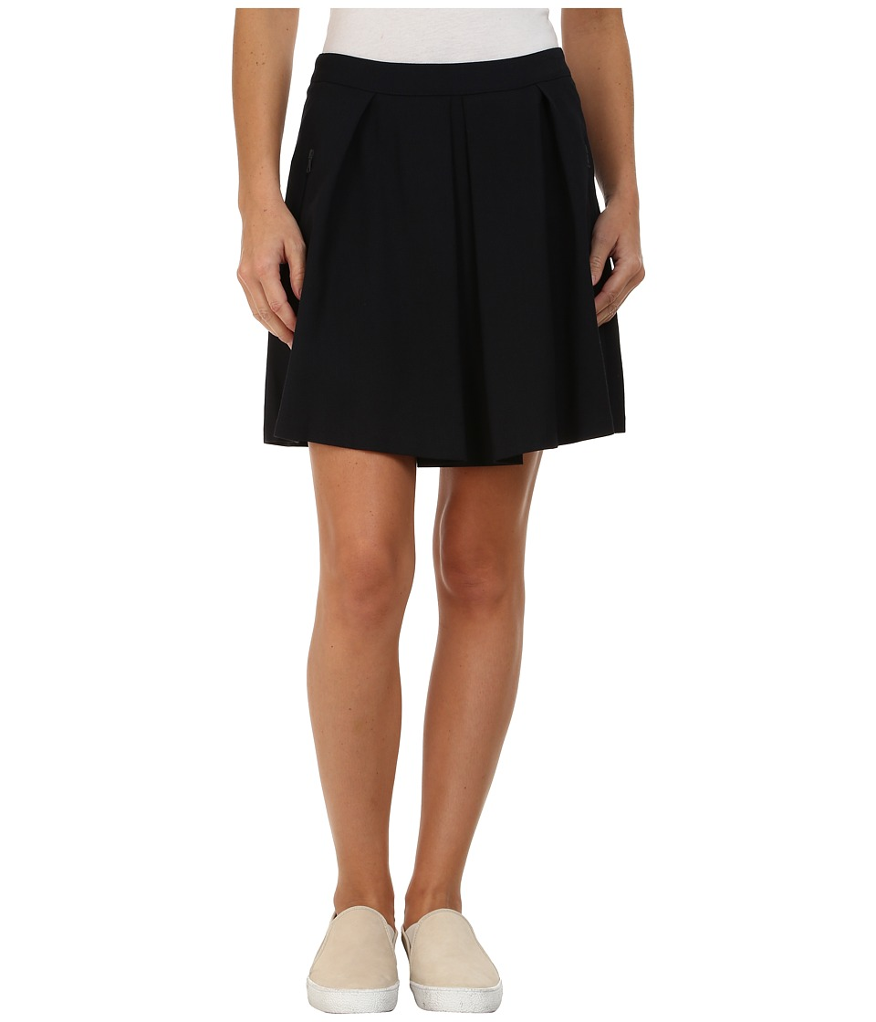 Lacoste - Wool Pique A-Line Skirt (Midnight) Women's Skirt