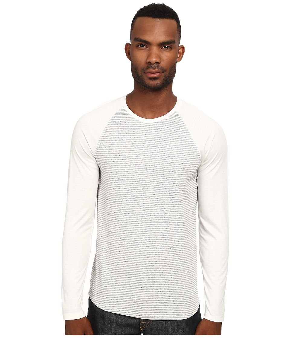 Vince - Feeder Stripe Baseball Tee (Paper White/Heather Grey) Men