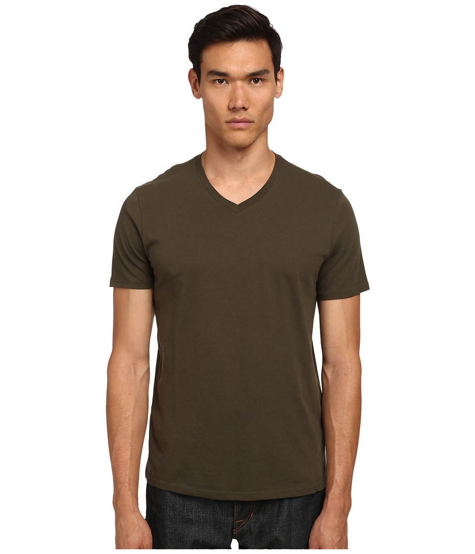 Vince - Short Sleeve Pima Cotton V-Neck Tee (Deep Moss) Men's T Shirt