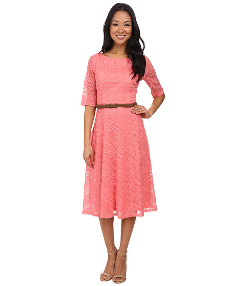Jessica Howard - 3/4 Sleeve Belted Dress with Meitered Skirt (Coral) Women