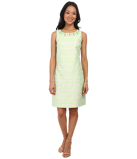 Jessica Howard - Sleeveless Beaded Neck Shift Dress (Neon Green) Women