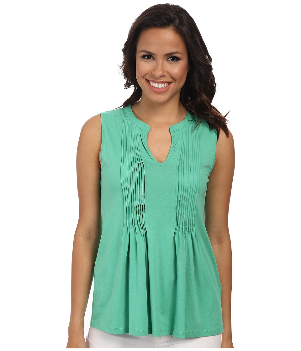 Jones New York - Slit Neck Pleated Tank Top (Jade Green) Women's Sleeveless