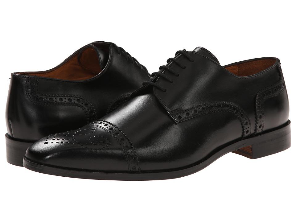 Massimo Matteo - Cap Toe Mediallion (Black) Men's Dress Flat Shoes