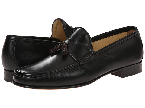 Massimo Matteo - Leather Tassel Croc Loafer (Black) Men