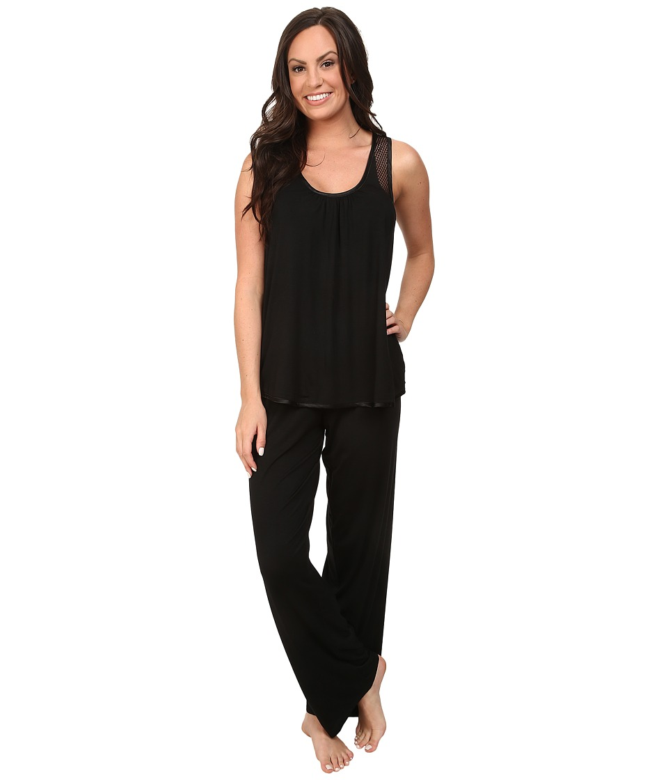 Midnight by Carole Hochman - Annette Stripe Pajama with Geo Lace (Black) Women's Pajama Sets