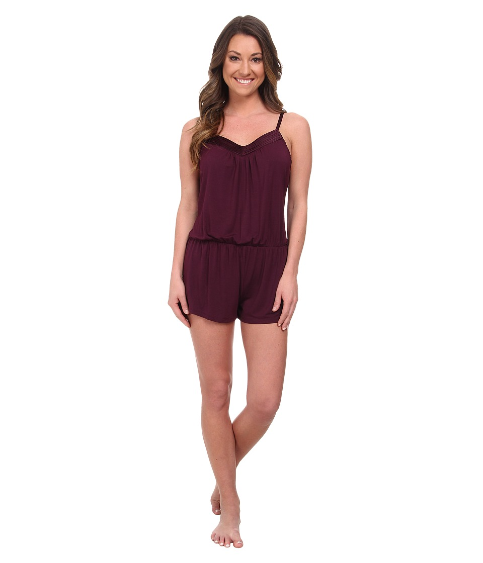 Midnight by Carole Hochman - Looking For Love Romper with Scallop Stitched Satin Trim (Plum) Women's Jumpsuit & Rompers One Piece