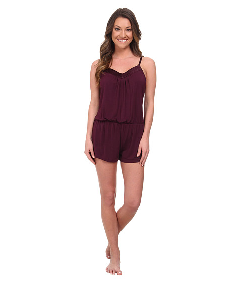 Midnight by Carole Hochman - Looking For Love Romper with Scallop Stitched Satin Trim (Plum) Women