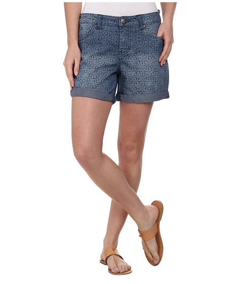 Liverpool - Printed Linda Shorts Cuffed (Indigo Medium Rinse) Women's Shorts
