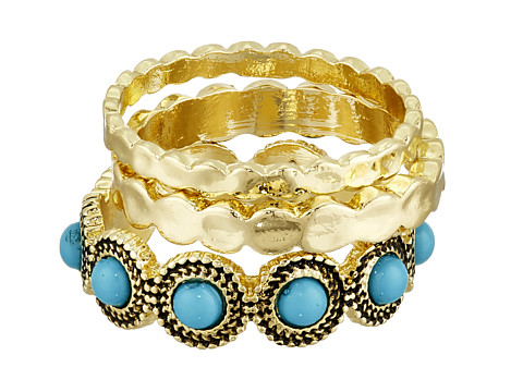 Sam Edelman - Metal Stone Stack Ring (Turquoise/Gold) Ring