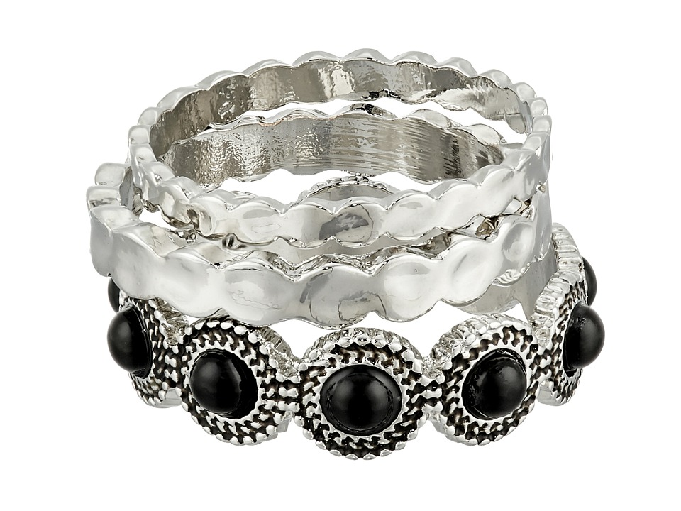 Sam Edelman - Metal Stone Stack Ring (Black/Rhodium) Ring