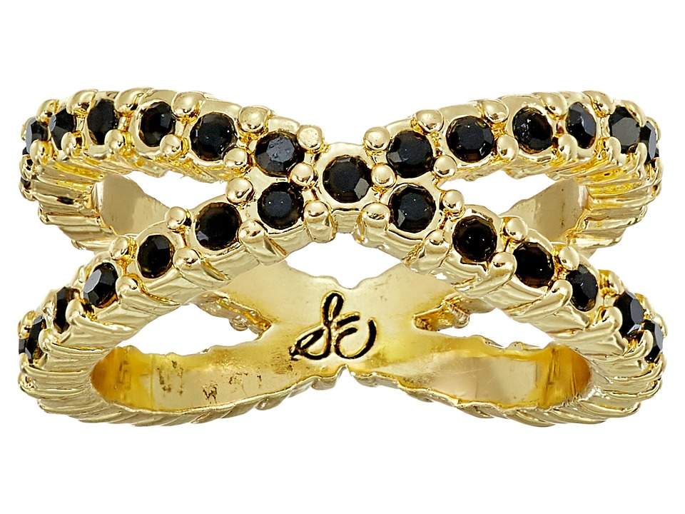 Sam Edelman - X Pave Midi Ring (Black/Gold) Ring