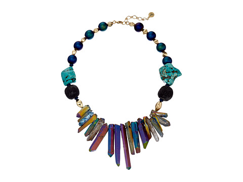 Sam Edelman - Crystal Bead Collar 16 Necklace (Rainbow/Gold) Necklace