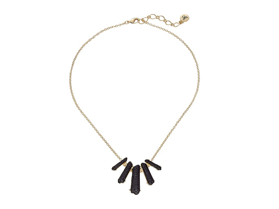 Sam Edelman - 5 Crystal Frontal Necklace 16 (Black/Gold) Necklace