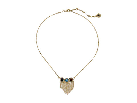 Sam Edelman - 3 Stone Fringe 15 Necklace (Multi/Gold) Necklace
