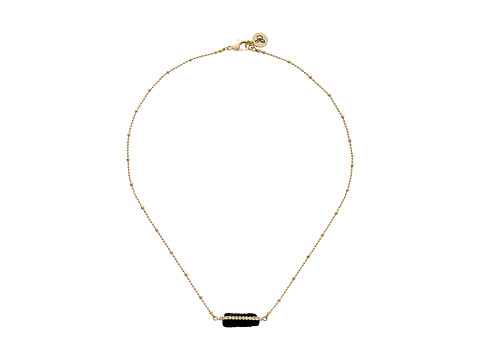 Sam Edelman - Pave Crystal Pendant 16 Necklace (Black/Gold) Necklace