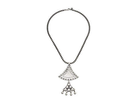 Sam Edelman - Flared Double Pendant 18 Necklace (Rhodium) Necklace