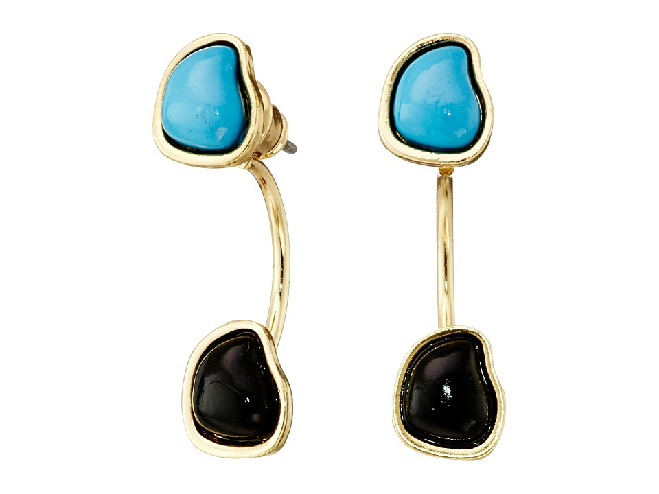 Sam Edelman - Two Stone Floater Earrings (Turquoise/Gold) Earring