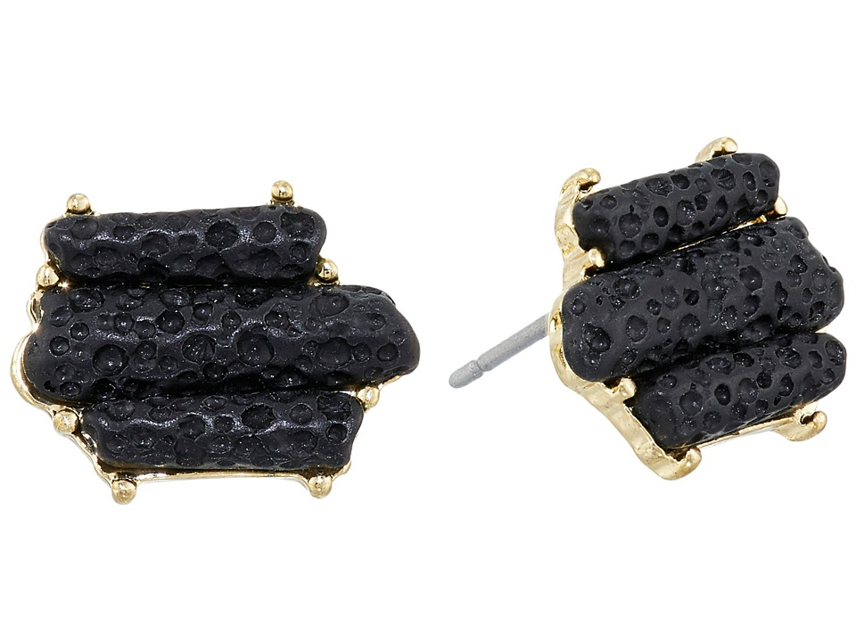 Sam Edelman - Crystal Stud Earrings (Black/Gold) Earring