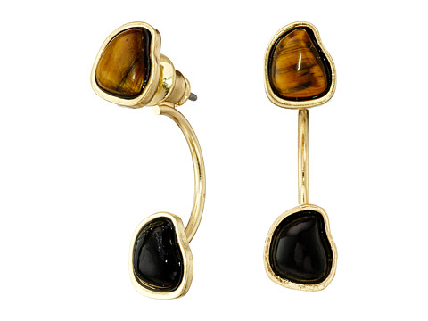 Sam Edelman - Two Stone Floater Earrings (Tigereye/Gold) Earring