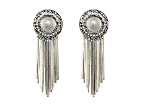 Sam Edelman - Large Fringe Disc Earrings (Rhodium) Earring