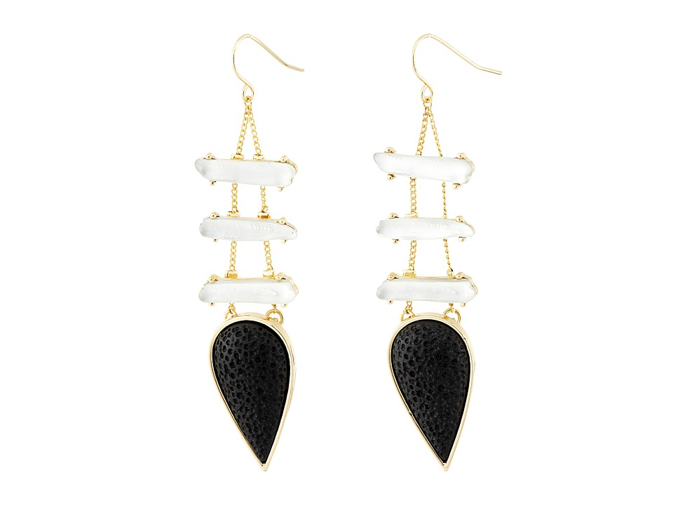 Sam Edelman - Tear Ladder Drop Earrings (Black/Gold) Earring
