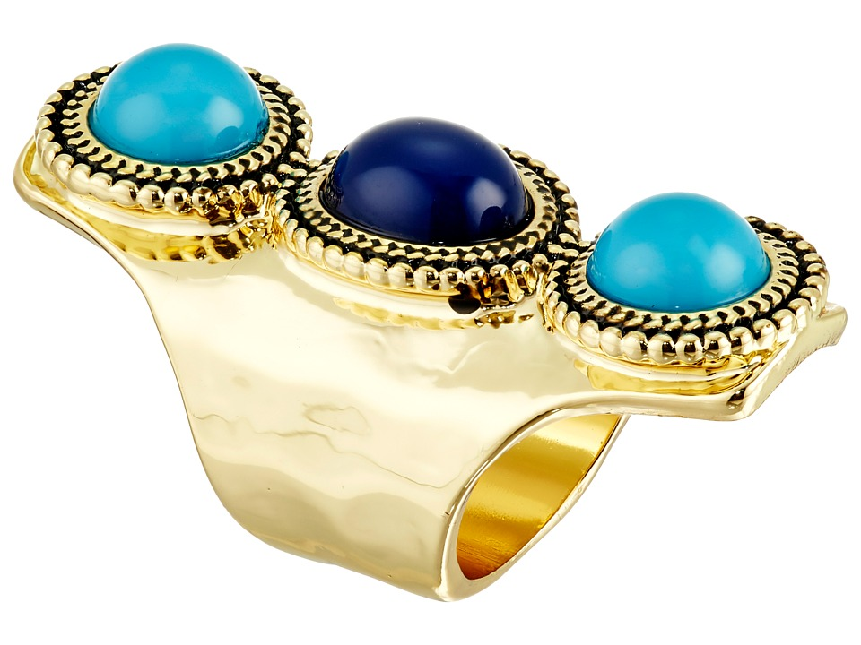 Sam Edelman - 3 Stone Vertical Ring (Blue/Multi/Gold) Ring