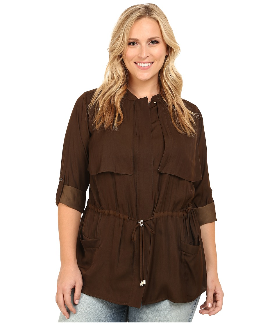 Vince Camuto Plus - Plus Size Serengeti Cinched Waist Rumple Anorak (Chocolate) Women's Coat plus size,  plus size fashion plus size appare