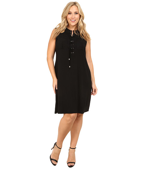 Vince Camuto Plus - Plus Size Serengeti Sleeveless Lace Up Dress w/ Front Pockets (Rich Black) Women's Dress
