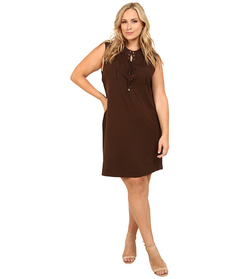 Vince Camuto Plus - Plus Size Serengeti Sleeveless Lace Up Dress w/ Front Pockets (Chocolate) Women