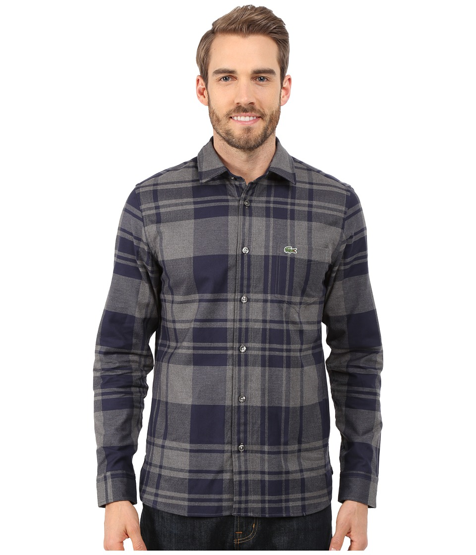 Lacoste - Long Sleeve Bold Check Flannel Shirt (Midnight Blue Chine/Gravel Chine) Men's Long Sleeve Button Up