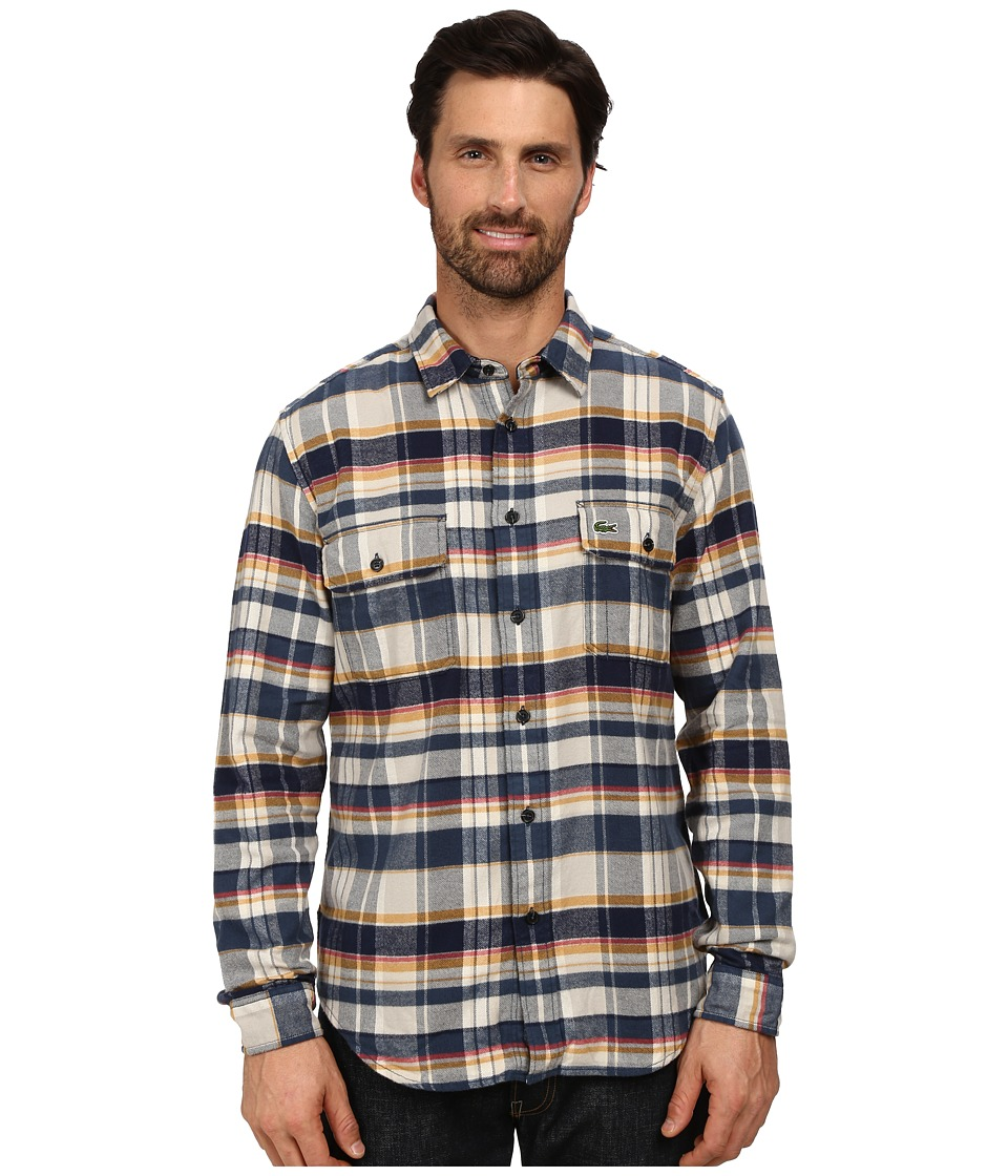 Lacoste - Long Sleeve Check Flannel Woven Shirt with Nylon Trim at Neckline (Trade Wind Blue/Navy Blue/Pulp) Men's Long Sleeve Button Up
