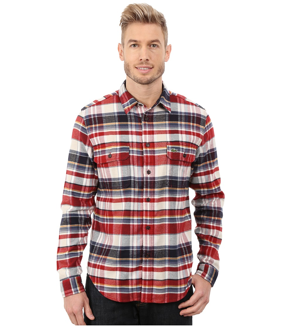 Lacoste - Long Sleeve Check Flannel Woven Shirt with Nylon Trim at Neckline (Oxide/Midnight/Plant Brown) Men's Long Sleeve Button Up