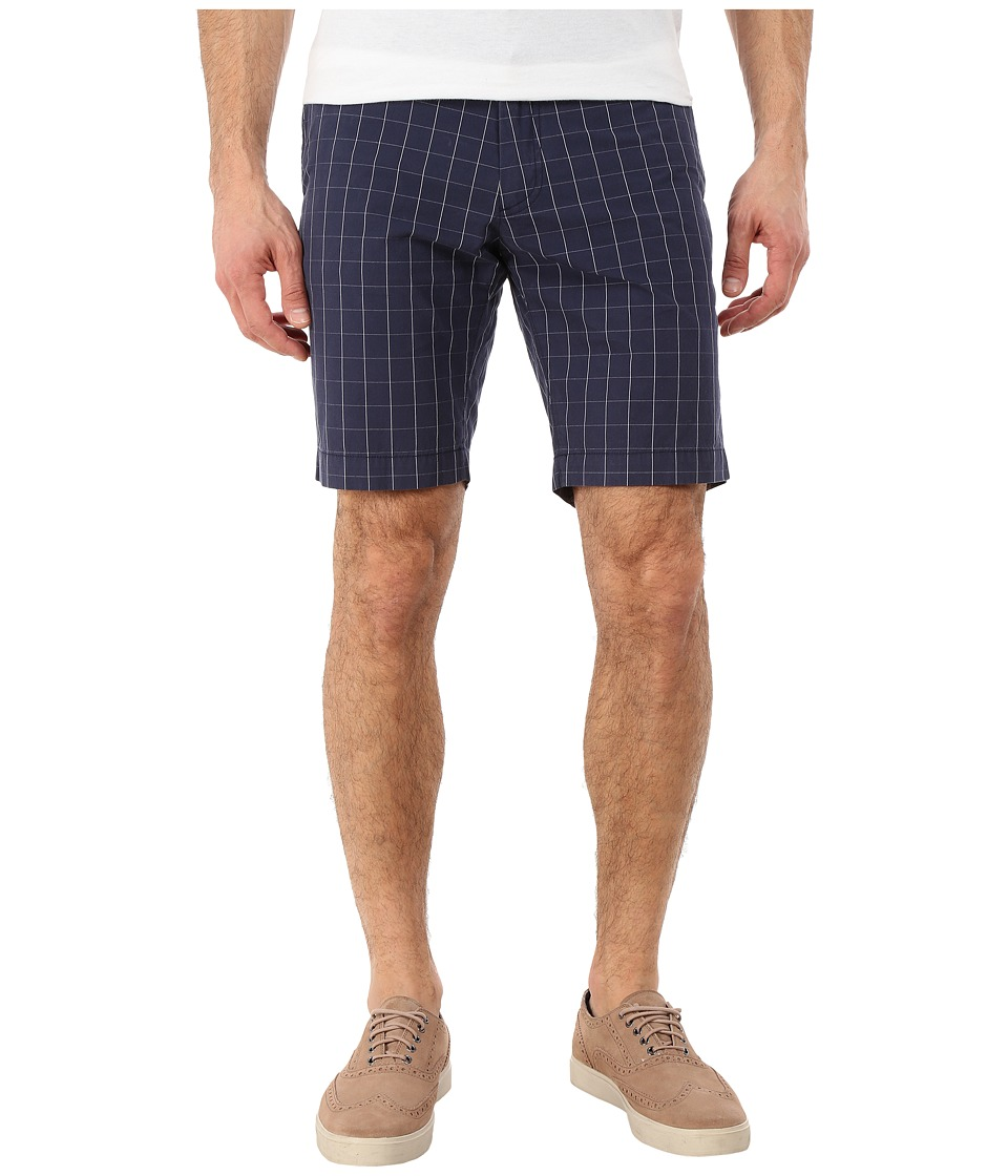 Lacoste - Resort Plaid Bermuda Shorts (Navy Blue/White) Men's Shorts
