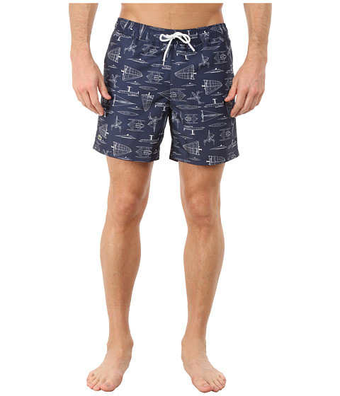 Lacoste - Printed Sailing Graphic Swim Shorts 5 (Navy Blue/Cake Flour/White) Men