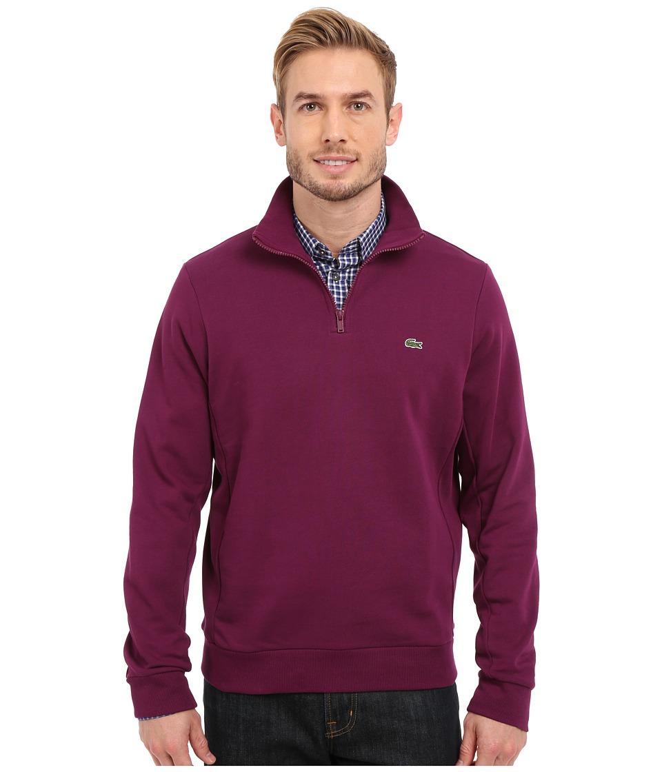 Lacoste - Light Weight Fleece 1/4 Zip Sweatshirt (Urchin Purple) Men's Sweatshirt