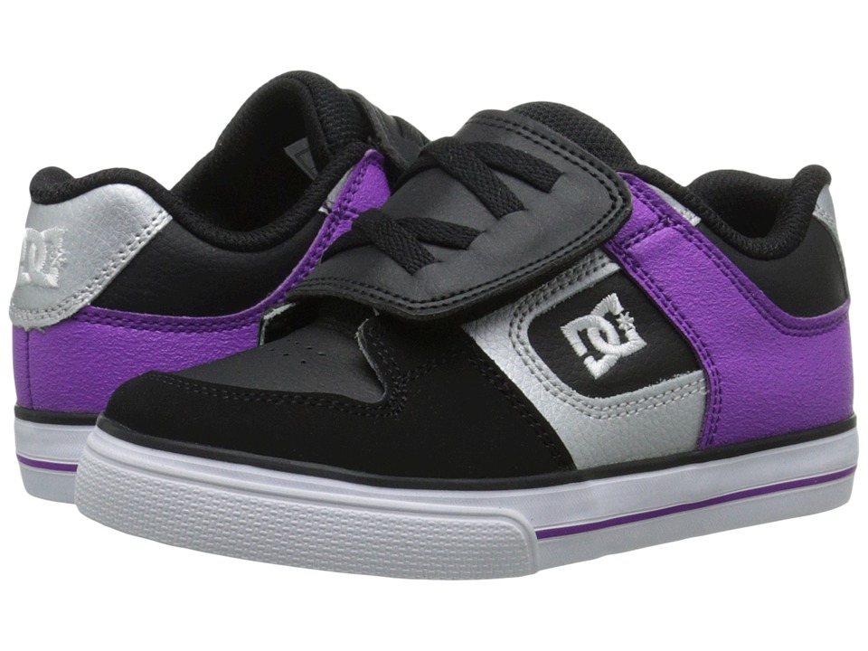DC Kids - Pure V (Toddler) (Black/Purple) Girls Shoes