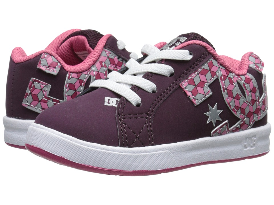 DC Kids - Court Graffik Elastic UL (Toddler) (Deep Red) Girls Shoes
