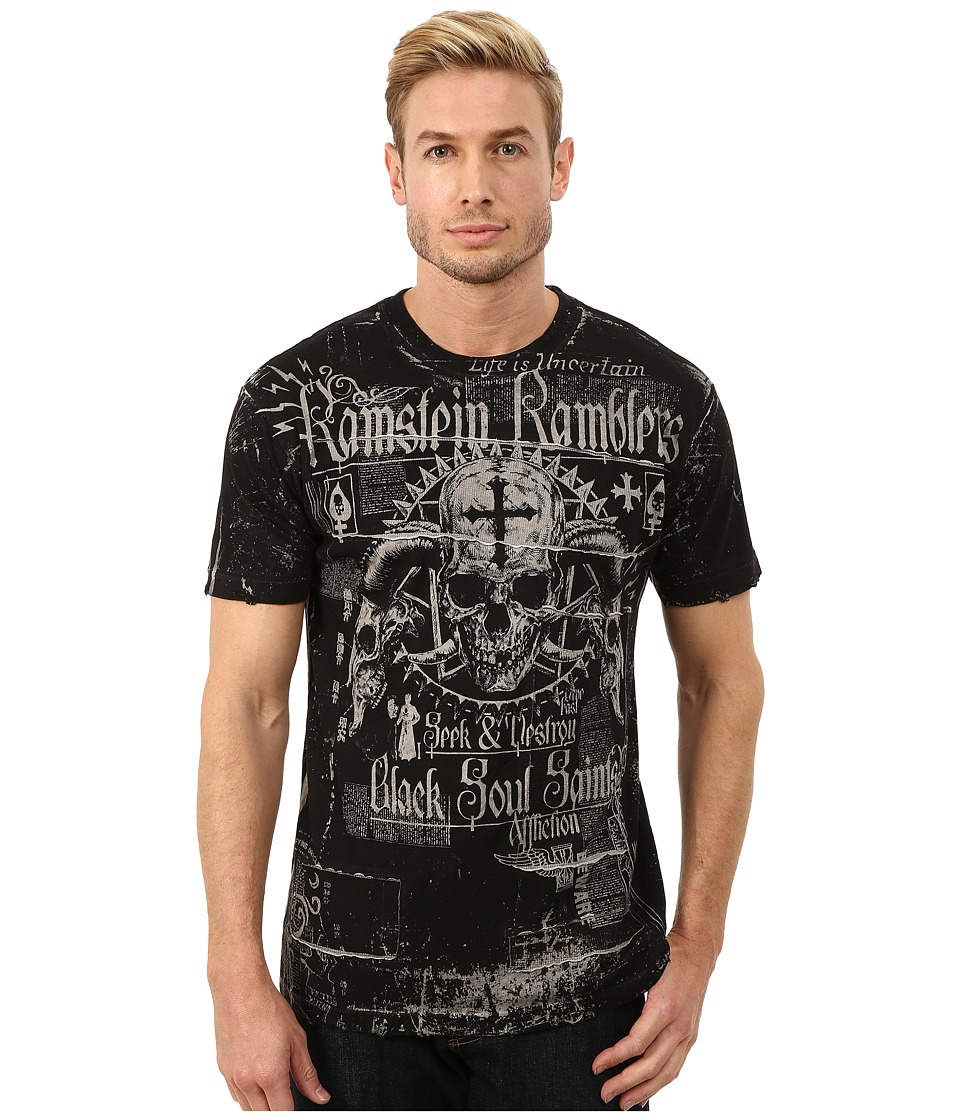 Affliction - Ramstein Ramblers Short Sleeve Reversible Crew Tee (White Oil Stain) Men's T Shirt