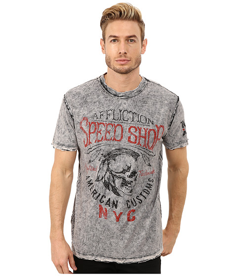 Affliction - Motor Oil Short Sleeve Reversible Crew Tee (Black/White Lava Tint) Men