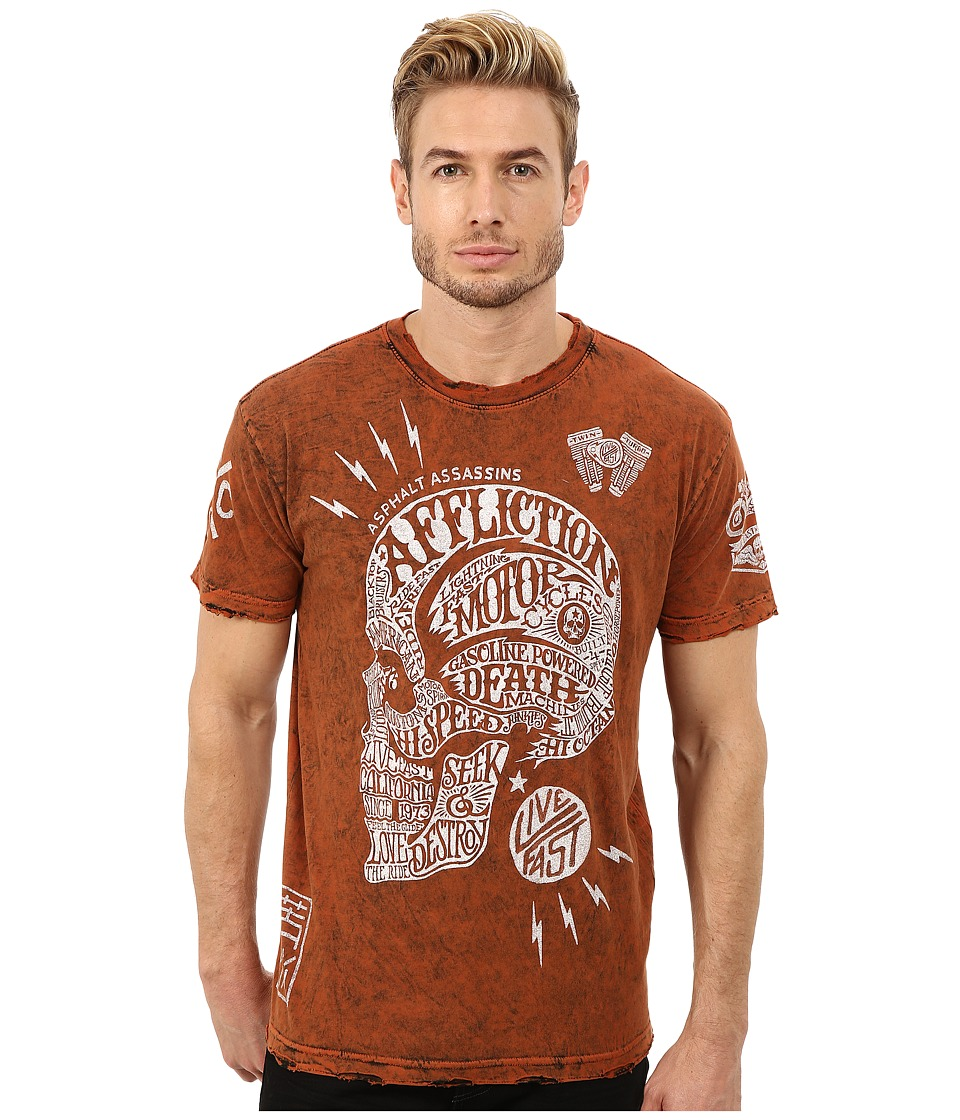 Affliction - Motor Head Short Sleeve Reversible Crew Tee (Orange/Black Lava Tint) Men