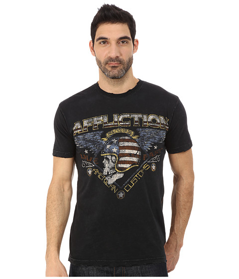 Affliction - Highway Stranger Short Sleeve Crew Tee (Black Lava Wash) Men