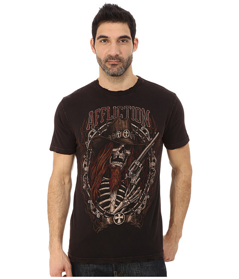 Affliction - Tombstone Shootout Short Sleeve Crew Tee (Black/Brown Lava Wash) Men