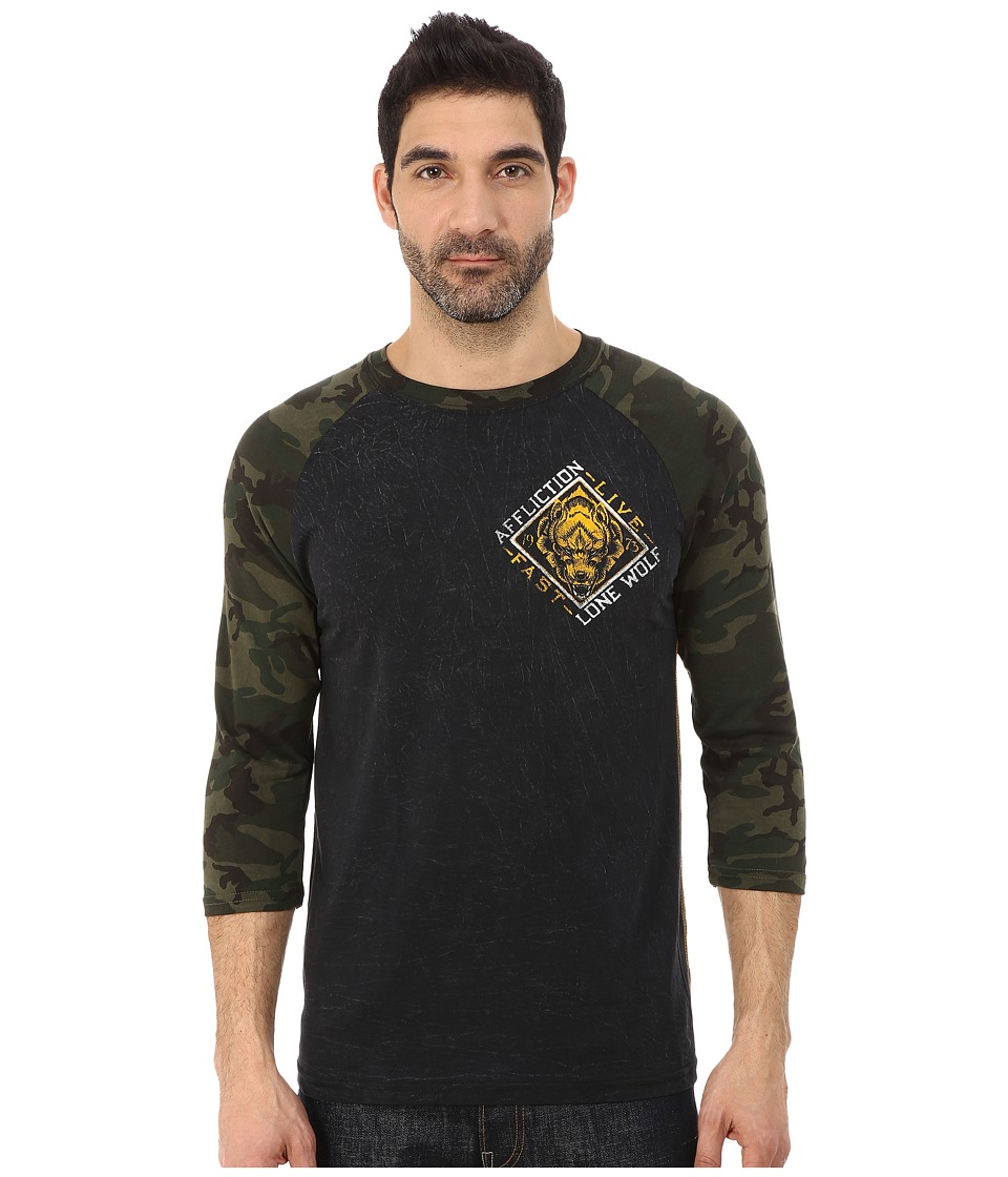 Affliction - Lone Wolf 3/4 Sleeve Raglan (Black/Camo Lava Wash) Men's Long Sleeve Pullover