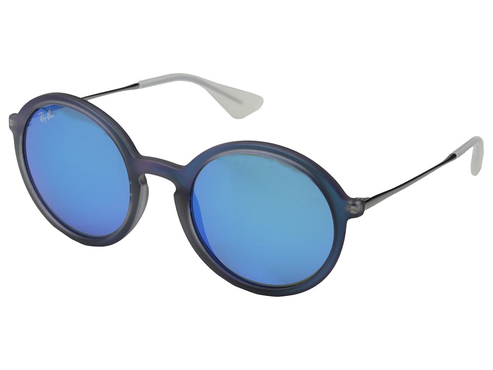 Ray-Ban - RB4222 50mm (Blue Rubberized/Blue Mirror) Fashion Sunglasses