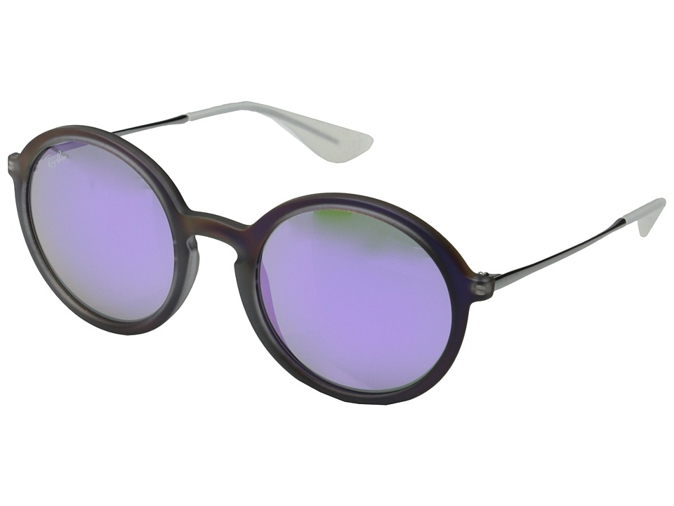 Ray-Ban - RB4222 50mm (Violet Rubberized/Gray Mirror) Fashion Sunglasses