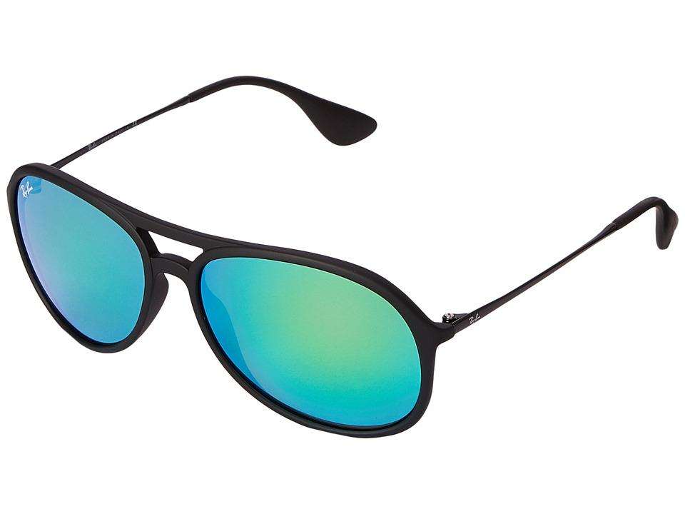 Ray-Ban - RB4201 Alex 59mm (Black Rubberized/Green Mirror) Fashion Sunglasses