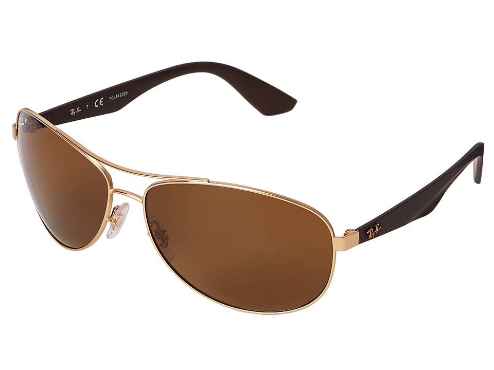 Ray-Ban - RB3526 63mm (Gold Matte/Polarized Brown) Fashion Sunglasses