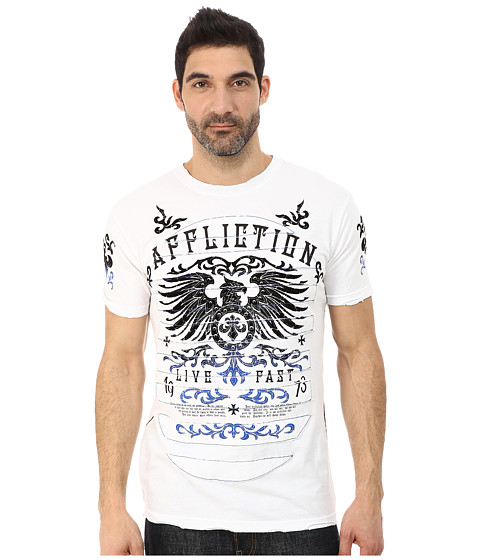 Affliction - Secure Measure Short Sleeve Crew Tee (White) Men