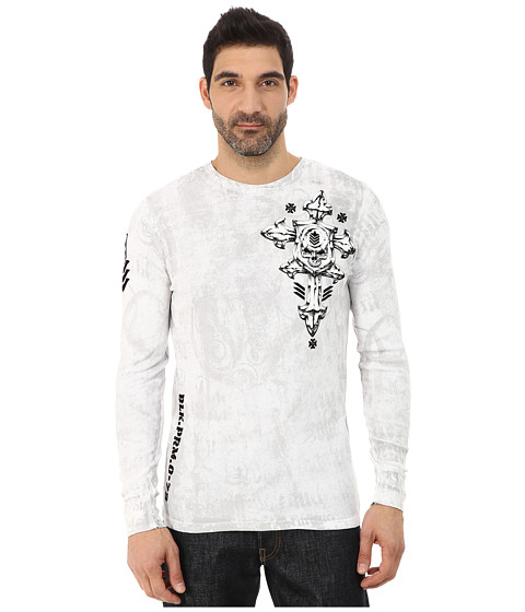 Affliction - Abrasive Spirit Long Sleeve Thermal Tee (White) Men's T Shirt