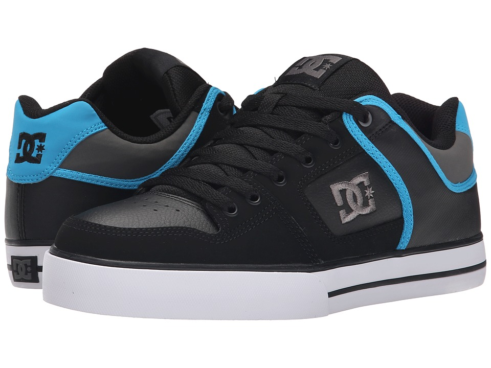DC - Pure (Black/Grey/Blue) Men's Skate Shoes